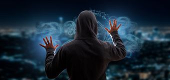 Hacker activating Question mark. View of a Hacker activating Question mark royalty free stock photos