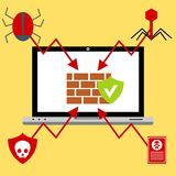 Alert notification on laptop computer vector, malware concept, spam data, fraud internet error stock illustration