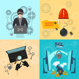 Hacker activity computer bank account hacking. And e-mail spam viruses password cracking flat icons set vector illustration