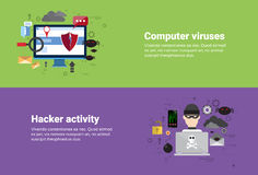 Hacker Activity Computer Viruses Data Protection Privacy Internet Information Security Web Banner. Flat Vector illustration Stock Images