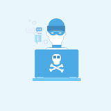 Hacker Activity Computer Viruses Data Protection Privacy Internet Information Security Web Banner. Vector illustration Royalty Free Stock Image