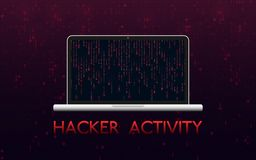 Hacker activity concept. Hacked laptop on red binary background. Malware design with matrix backdrop. Mining of royalty free illustration