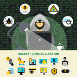 Hacker Activity Icons Collection Royalty Free Stock Photos