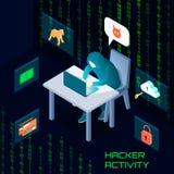 Hacker Activity Isometric Composition Stock Photo