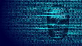 Hacker artificial intelligence robot danger dark face. Cyborg binary code head shadow online hack alert personal data. Intellect mind virtual information vector Stock Photography