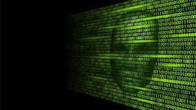Hacker artificial intelligence robot danger dark face. Cyborg binary code head shadow online hack alert personal data. Intellect mind virtual information vector Royalty Free Stock Photos