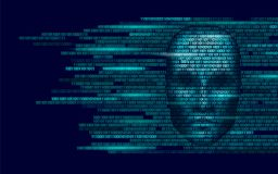 Hacker artificial intelligence robot danger dark face. Cyborg binary code head shadow online hack alert personal data. Intellect mind virtual information vector Royalty Free Stock Photo