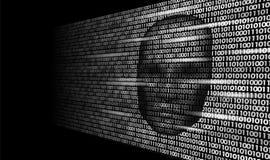 Hacker artificial intelligence robot danger dark face. Cyborg binary code head shadow online hack alert personal data. Intellect mind virtual information vector Stock Images