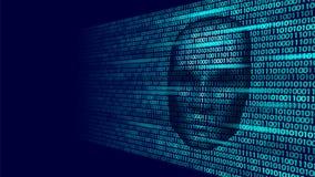 Hacker artificial intelligence robot danger dark face. Cyborg binary code head shadow online hack alert personal data. Intellect mind virtual information vector Stock Photo