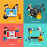 Hacker Atakuje 2x2 projekta pojęcie Obrazy Stock