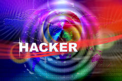 Hacker Attack. An image for the concept of Worldwide network Hacker attack. This image shows a background the world and circle effects with the word Virus in Royalty Free Stock Photo