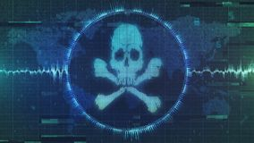 Hacker attack - cyber warning of interference and malware - grungy and distorted image. Heavily corrupted image of skull and crossbones hacking attack warning Stock Images