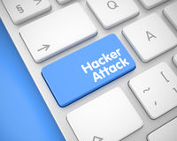 Hacker Attack - Inscription on the Blue Keyboard Button. 3D. Royalty Free Stock Images