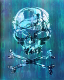 Hacker attack with skull background stock photography