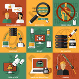 Hacker Attacks Compositions Set. Nine square hackers compositions set with pictograms about various kinds of electronic viral infection and attacks vector Royalty Free Stock Photos