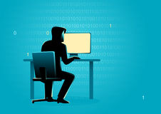Hacker behind desktop computer. Business concept illustration of a hacker behind desktop computer Royalty Free Stock Image