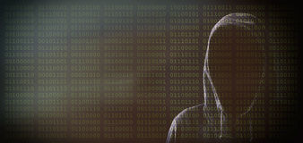 Hacker on binary code background Stock Images