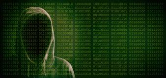 Hacker on binary code background vector illustration