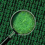 Hacker binary code and fingerprint. Search finger print hacker in binary code using magnifying glass Royalty Free Stock Images
