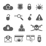 Hacker black icons set with bug virus crack worm Royalty Free Stock Images