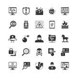 Hacker Black Icons Set Royalty Free Stock Images