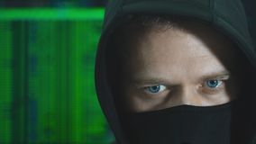 Hacker in black mask. Hacking and internet security concept stock video