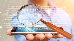 Hacker using digital magnifying glass to find password 3D render. Hacker on blurred background using digital magnifying glass to find password 3D rendering Stock Image