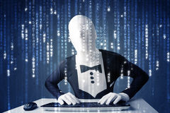 Hacker in body mask decoding information from futuristic network Royalty Free Stock Photo