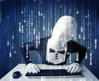 Hacker in body mask decoding information from futuristic network Stock Image