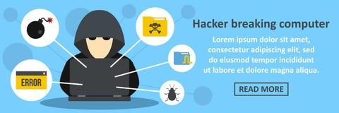 Hacker breaking computer banner horizontal concept. Flat illustration of hacker breaking computer banner horizontal vector concept for web Stock Image