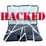 Hacker breaks security crash Computer pieces Royalty Free Stock Images