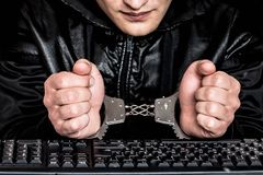 A hacker. Breaks into the security system stock image