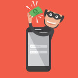 Hacker Breaks Into Smartphone. Data Theft Stock Photography