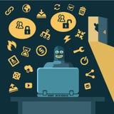 Hacker bricht in Computer ein Lizenzfreie Stockfotografie