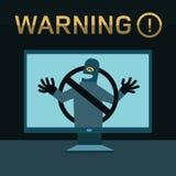 Hacker bricht in Computer ein Stockfotografie