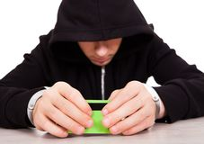 Hacker with a Card Stock Image