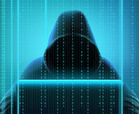 Hacker Code Realistic Composition. Colored hacker code realistic composition with person creates codes for hacking and stealing information vector illustration Royalty Free Stock Photography