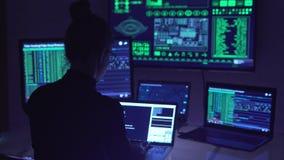 Hacker coding in cyberspace