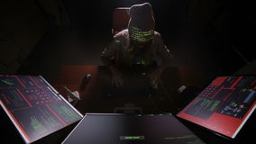 Hacker coding, virtual cyber attack concept. stock footage