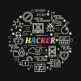Hacker colorful gradient with line icons set. Vector editable stroke Stock Photo