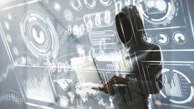 Hacker com portátil e tela do Cyberspace foto de stock royalty free