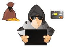 Hacker com símbolos do dinheiro ilustração royalty free
