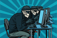 The hacker community, skeletons hacked computers Stock Images