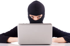 Hacker with computer Stock Images