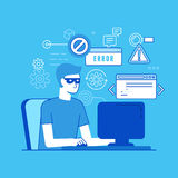 Hacker am Computer Stockbilder