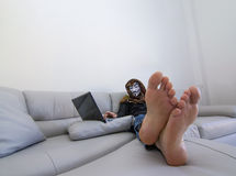 Hacker with computer cyber crime Royalty Free Stock Image