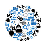 Hacker and computer security theme icons set in circle eps10 Royalty Free Stock Image