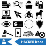 Hacker and computer security theme icons set eps10 Royalty Free Stock Image