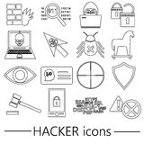 Hacker and computer security theme outline icons set eps10 Stock Images