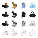 Hacker and computer, Trojan horse, envelope and key, cloud under lock. Hacker and hacking set collection icons in Royalty Free Stock Photo